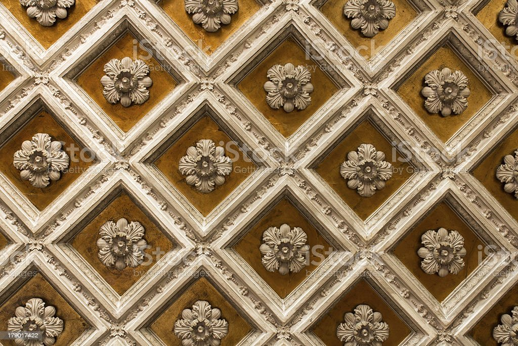 Wood coffered ceiling stock photo