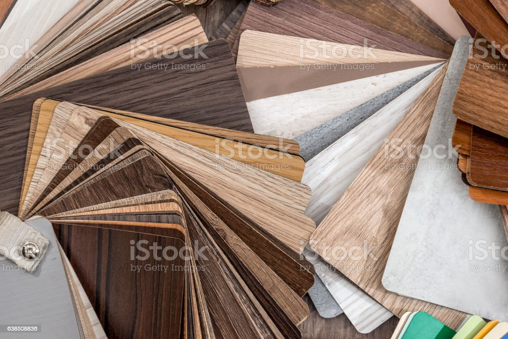 wood color guide on desk stock photo
