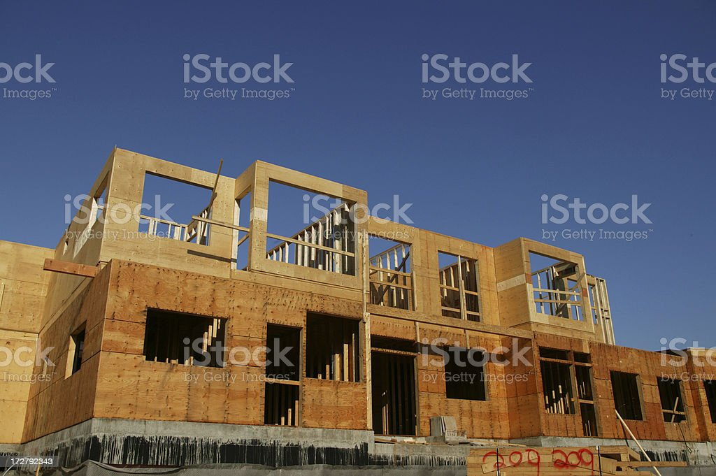wood construction frame apartment housing royalty-free stock photo