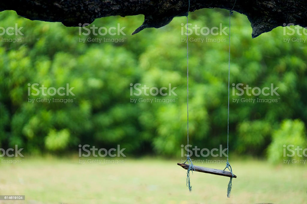 Wood cradle under the tree with green background stock photo
