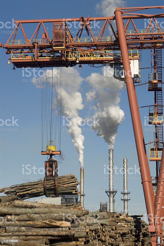 Wood Crane and Stacks royalty-free stock photo