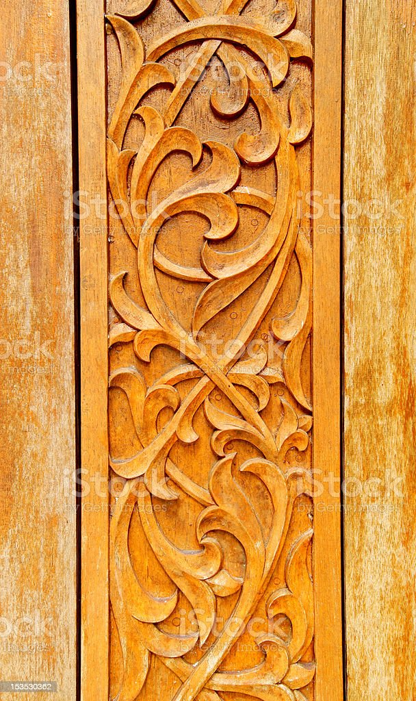 Wood Craving with Thai Pattern royalty-free stock photo