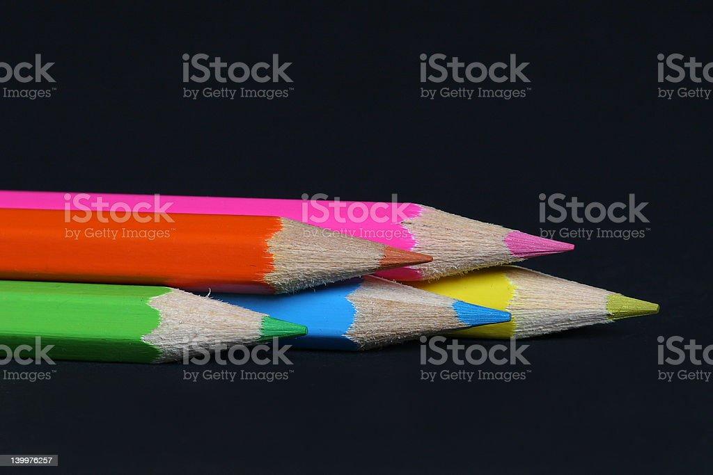 5 wood crayons royalty-free stock photo