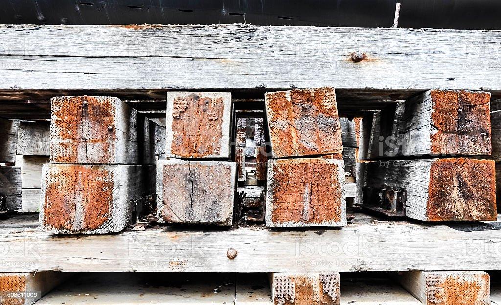 Wood Cribbing stock photo