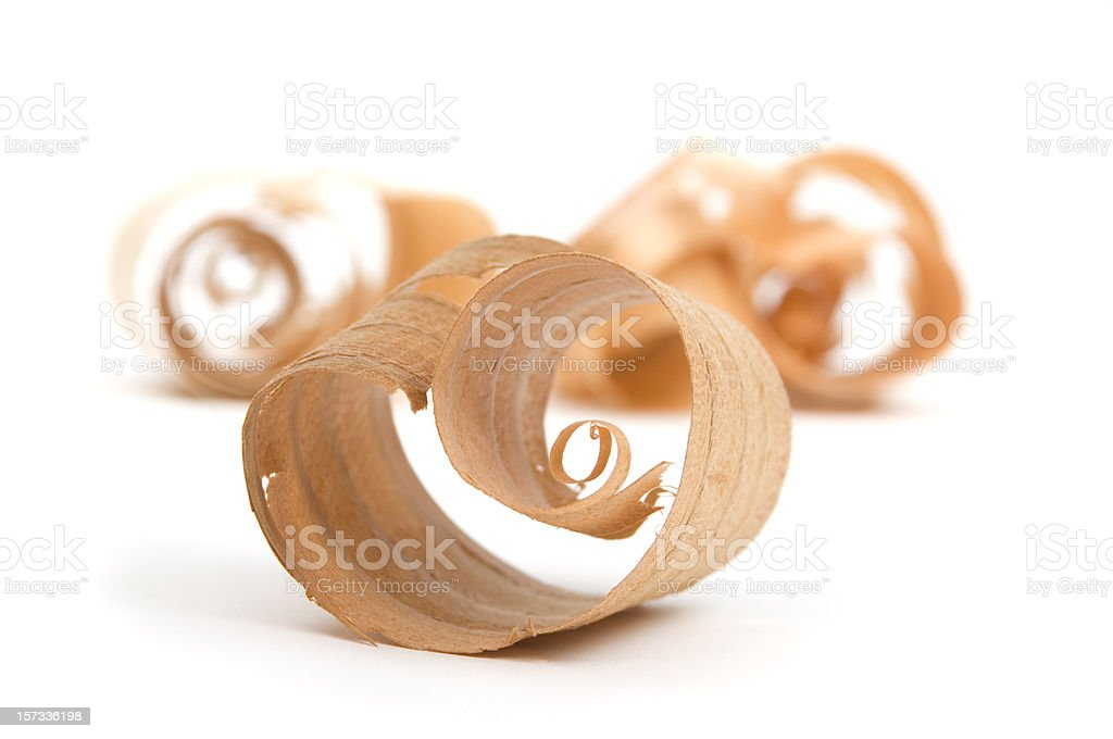 Wood Curl/Shavings close up #11-isolated on white stock photo