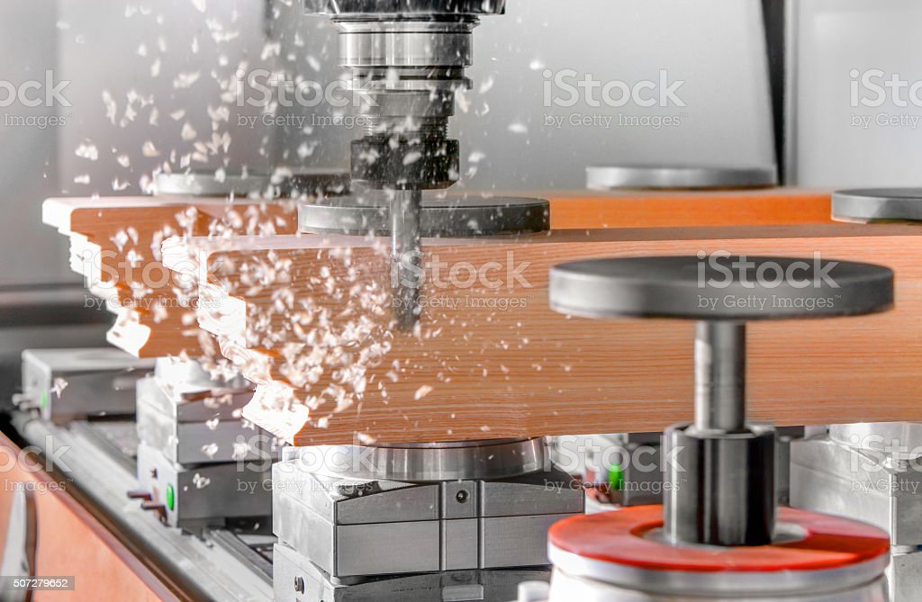 Wood Cutting with a cnc milling machines stock photo