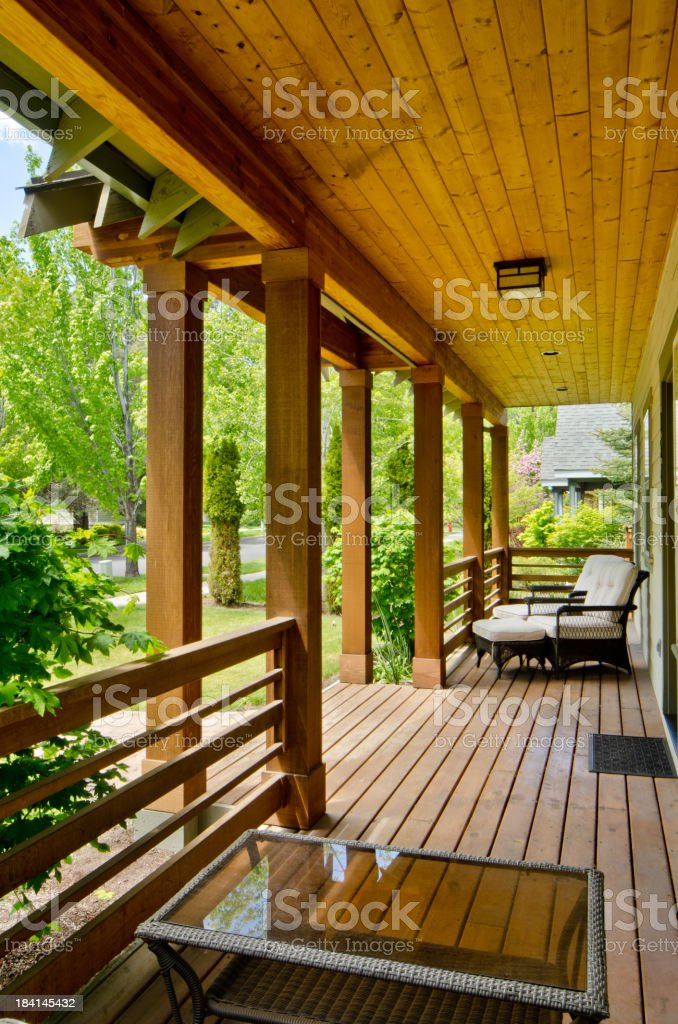Wood deck with view to the forest royalty-free stock photo