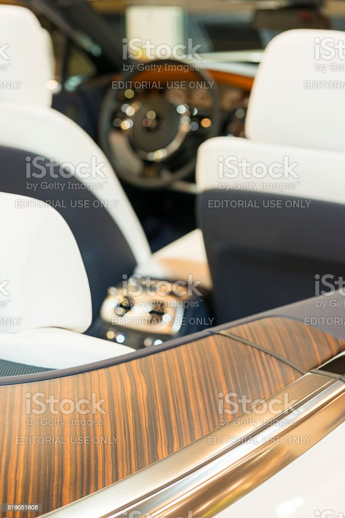 Wood detail on a Rolls-Royce Dawn four seater luxury convertible stock photo