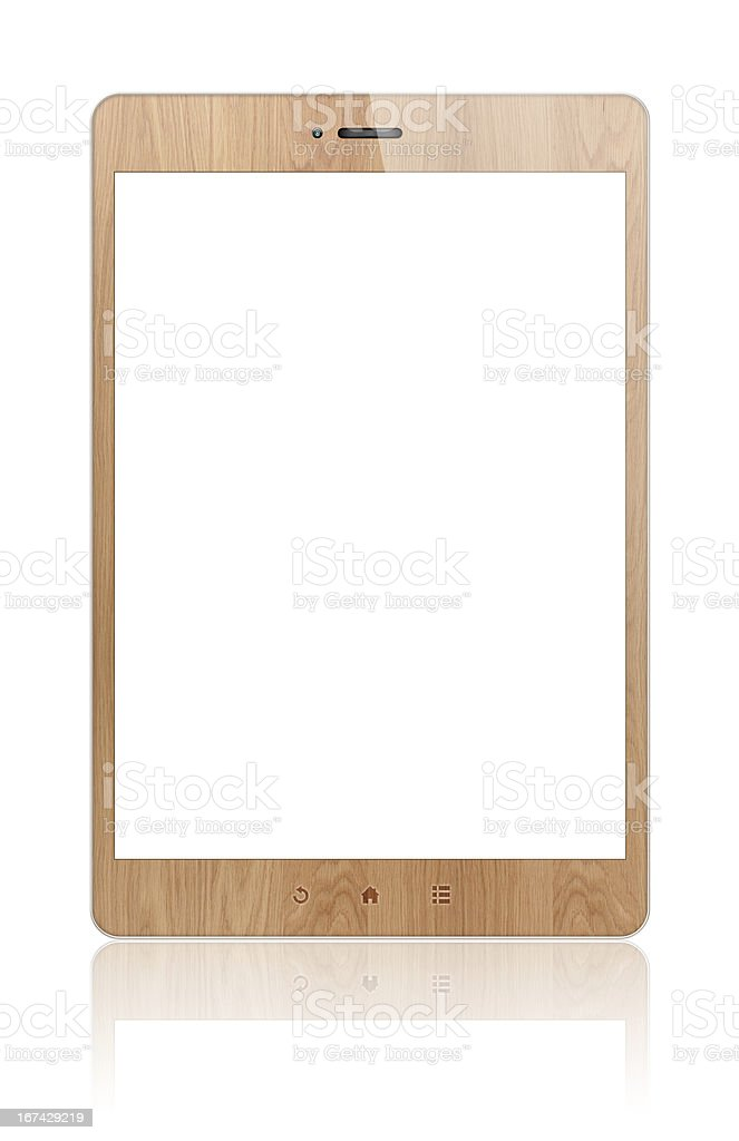 Wood Digital Tablet PC (Clipping path!) isolated on white background royalty-free stock photo