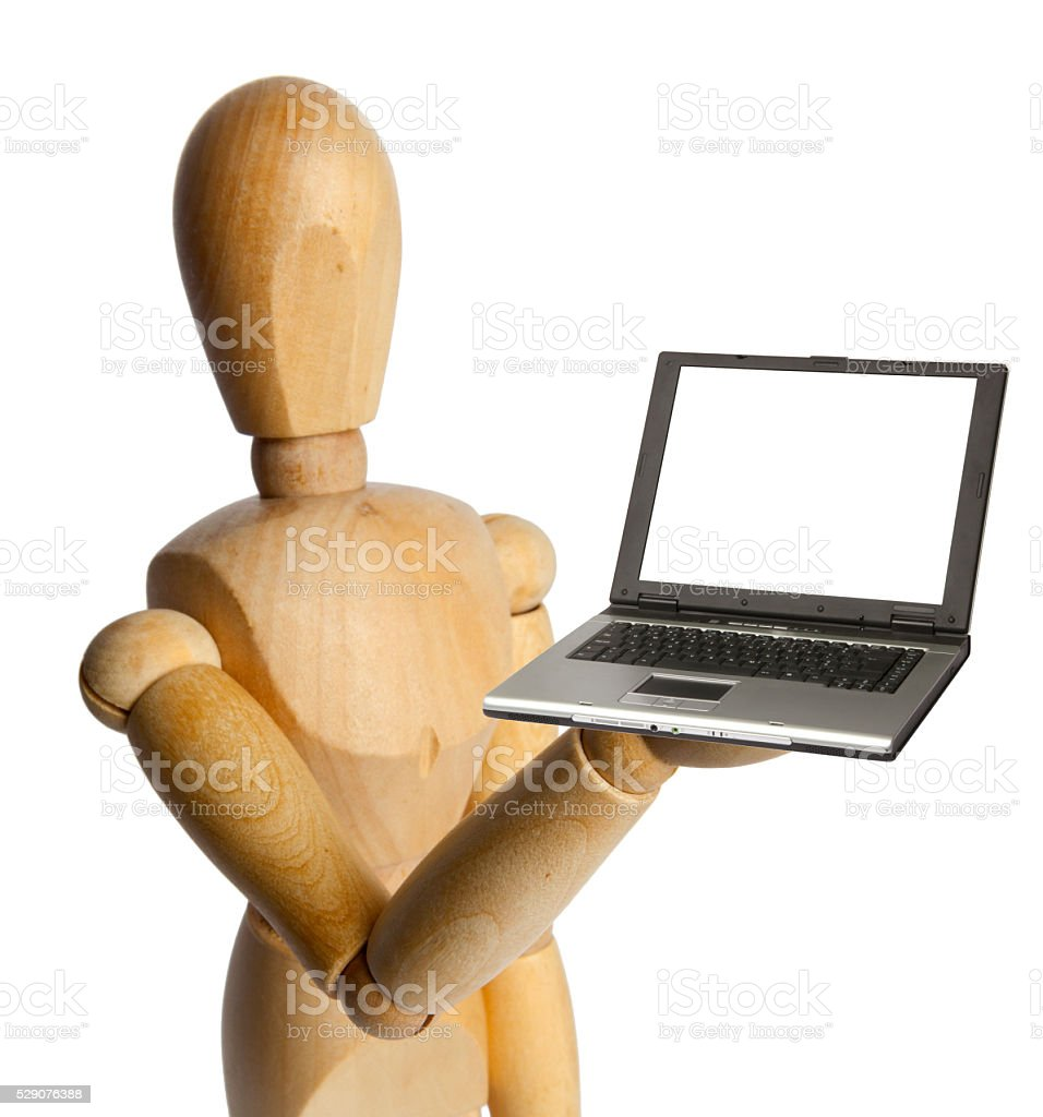 Wood Doll with a Laptop stock photo