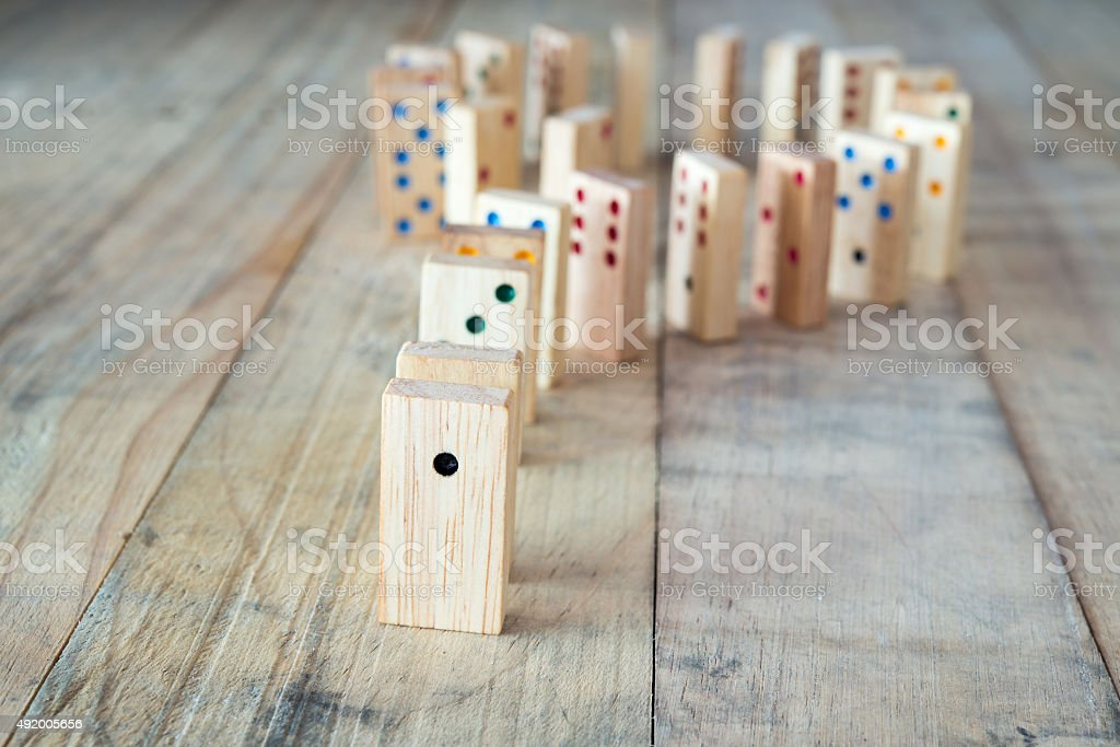 Wood domino game on wooden
