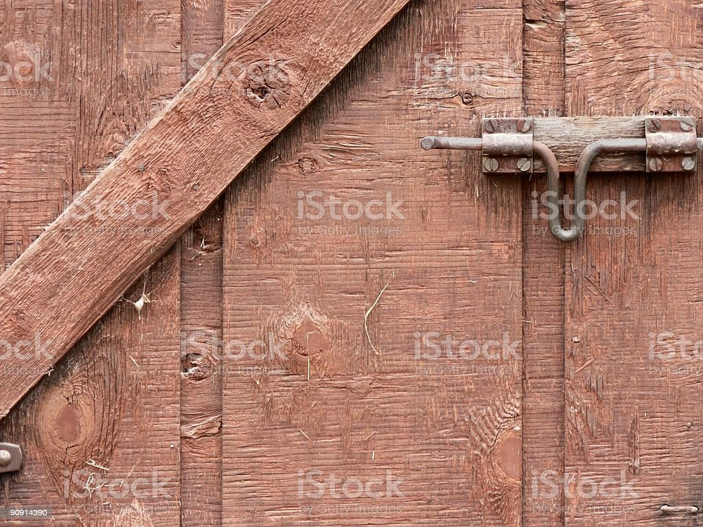 Wood Door and Latch royalty-free stock photo
