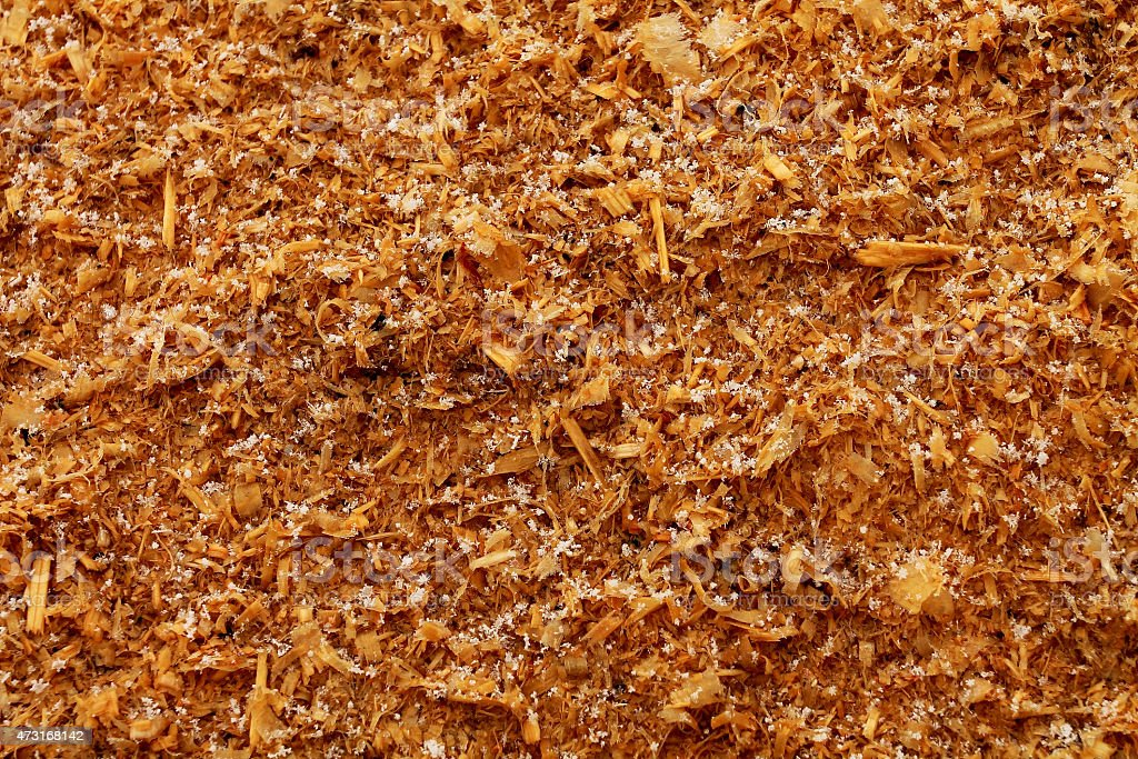 Wood Dust in Snow stock photo