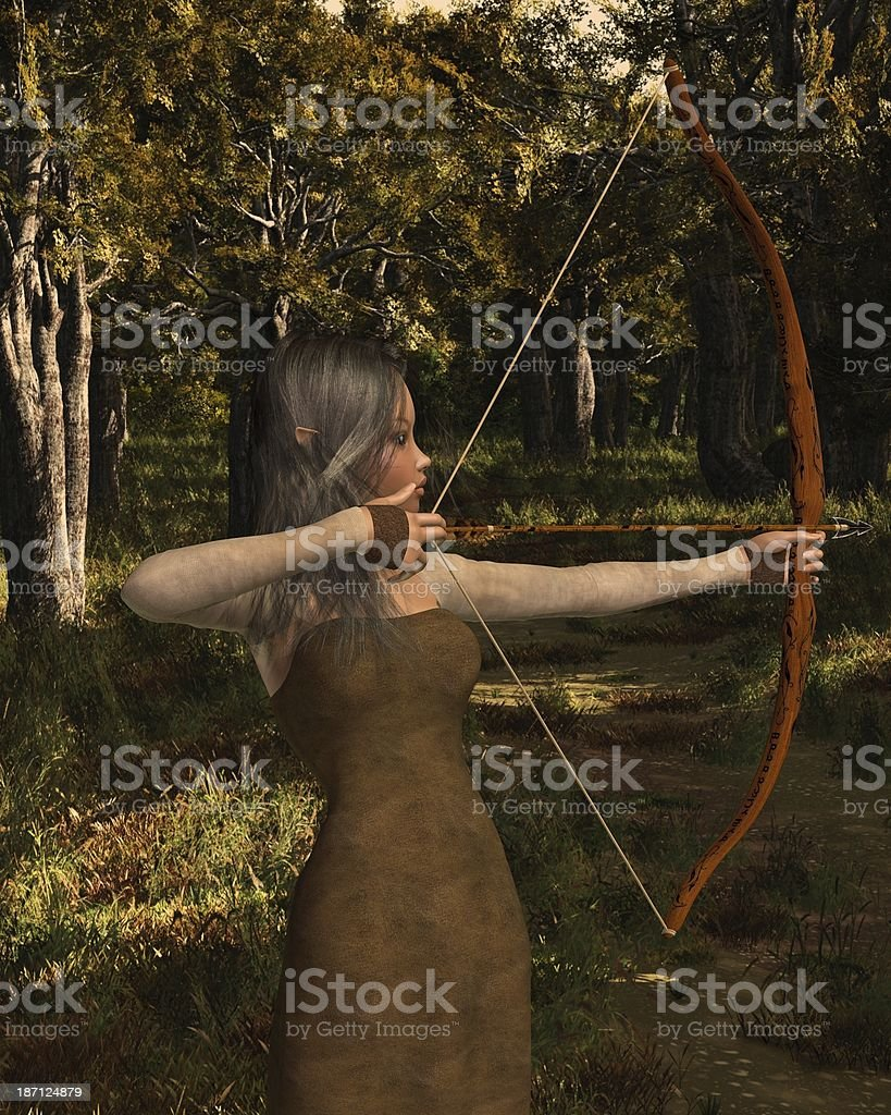 Wood Elf Archer Girl in the Forest royalty-free stock photo