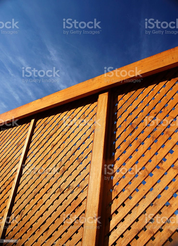 Wood Fence and Blue Sky royalty-free stock photo