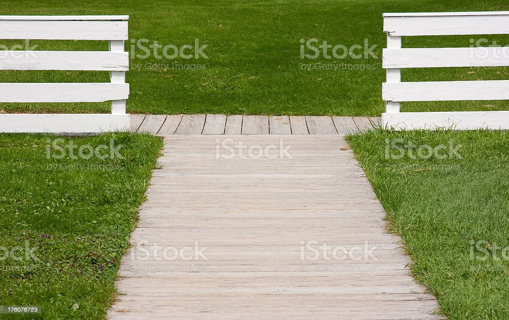 Wood Fence and Path royalty-free stock photo