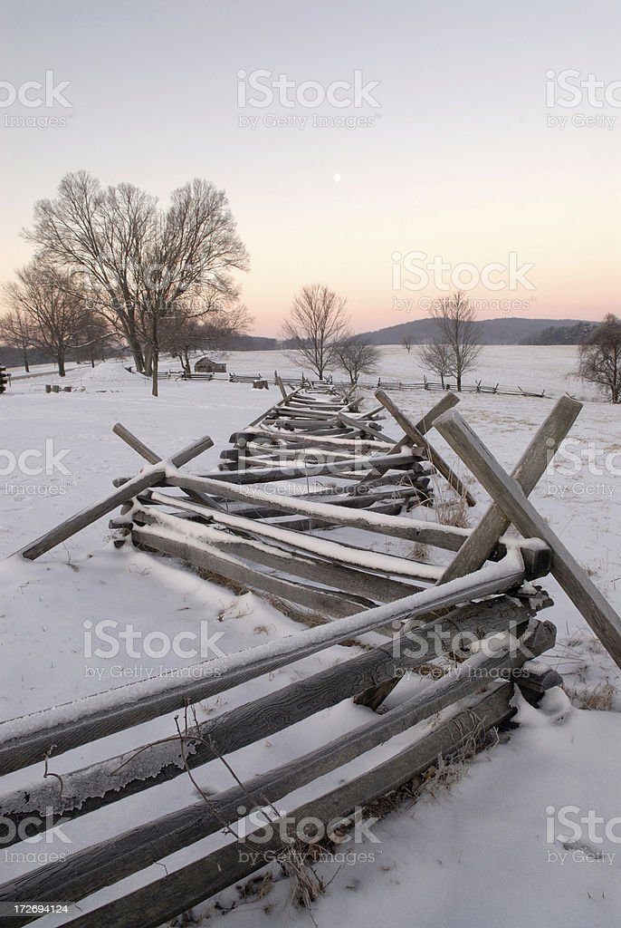 Wood Fence with Snow royalty-free stock photo