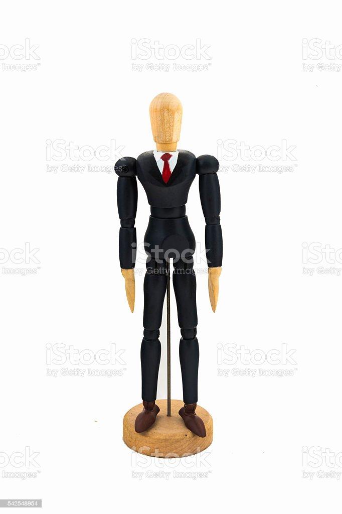Wood Figure business man stock photo