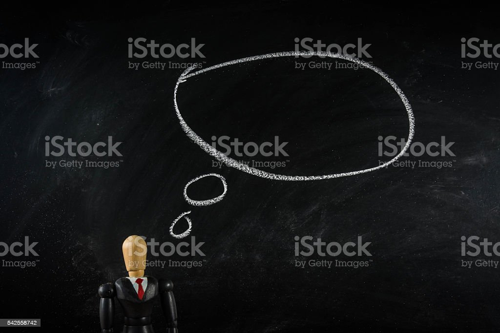 Wood Figure business man with  callout symbol ,black ground black broad stock photo