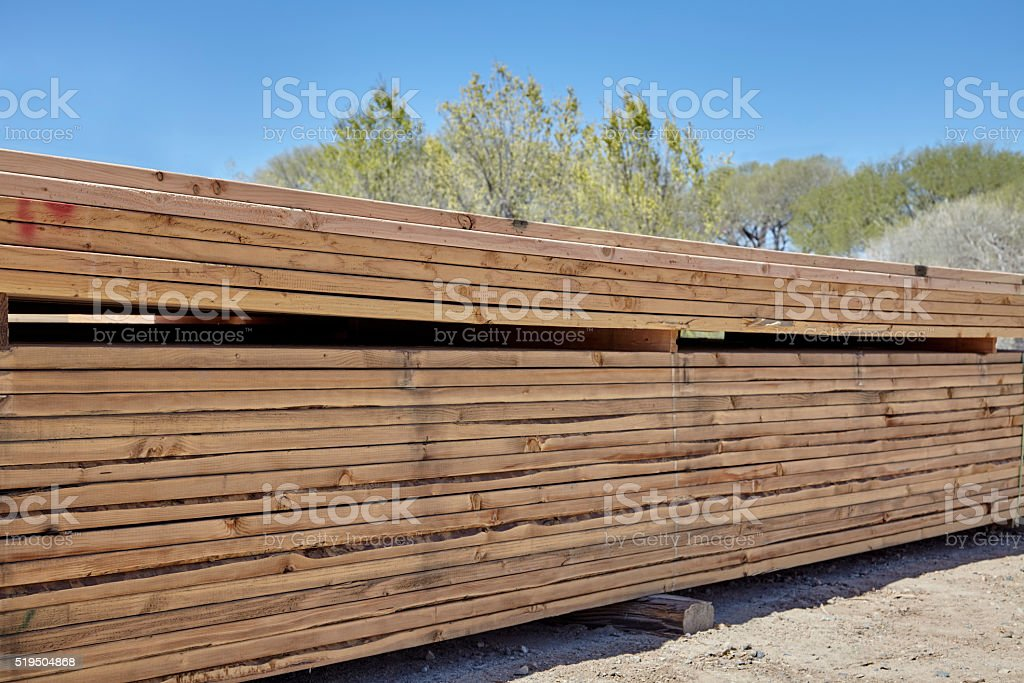 Wood fir pine boards lumbar yard ready for building industry stock photo