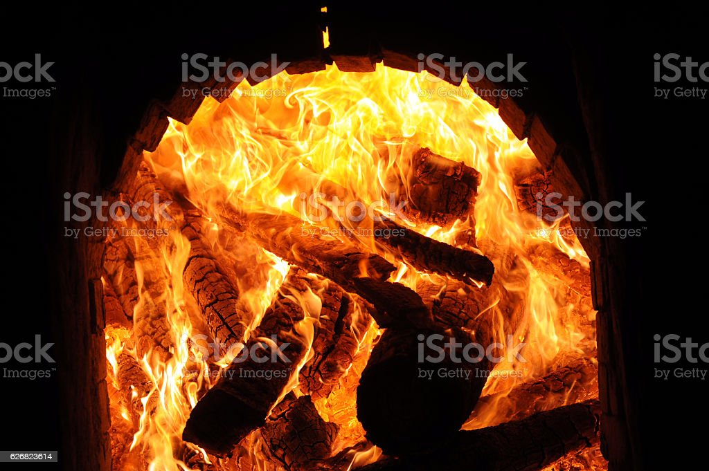 Wood fire that burned in a kiln. stock photo