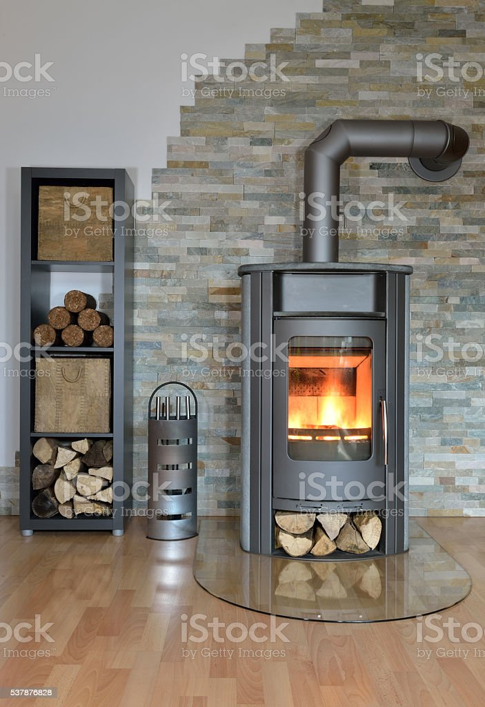 wood fired stove stock photo