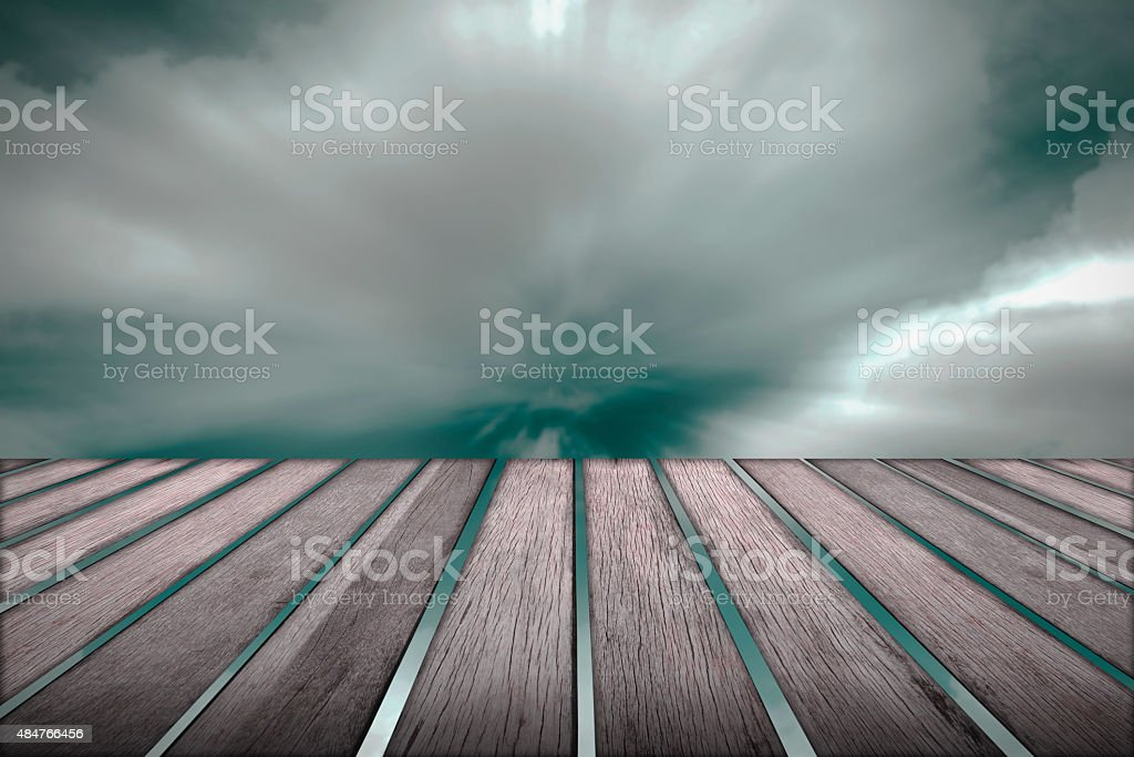 Wood floor and cloud moving in background. royalty-free stock vector art
