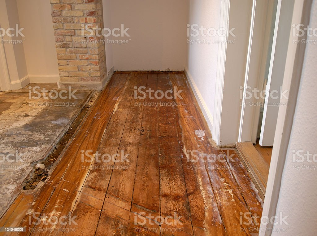 Wood floor in serious need of repair and renovation  royalty-free stock photo