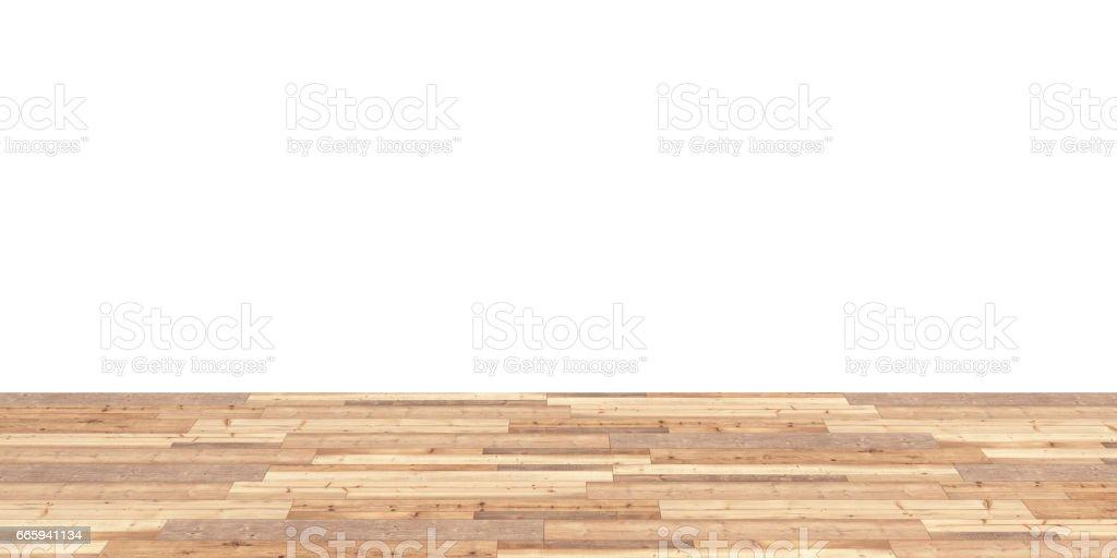 Wood floor on white background 3d stock photo