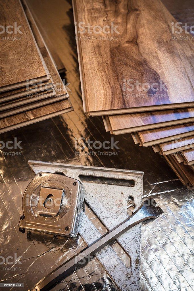 Wood Flooring Tools stock photo