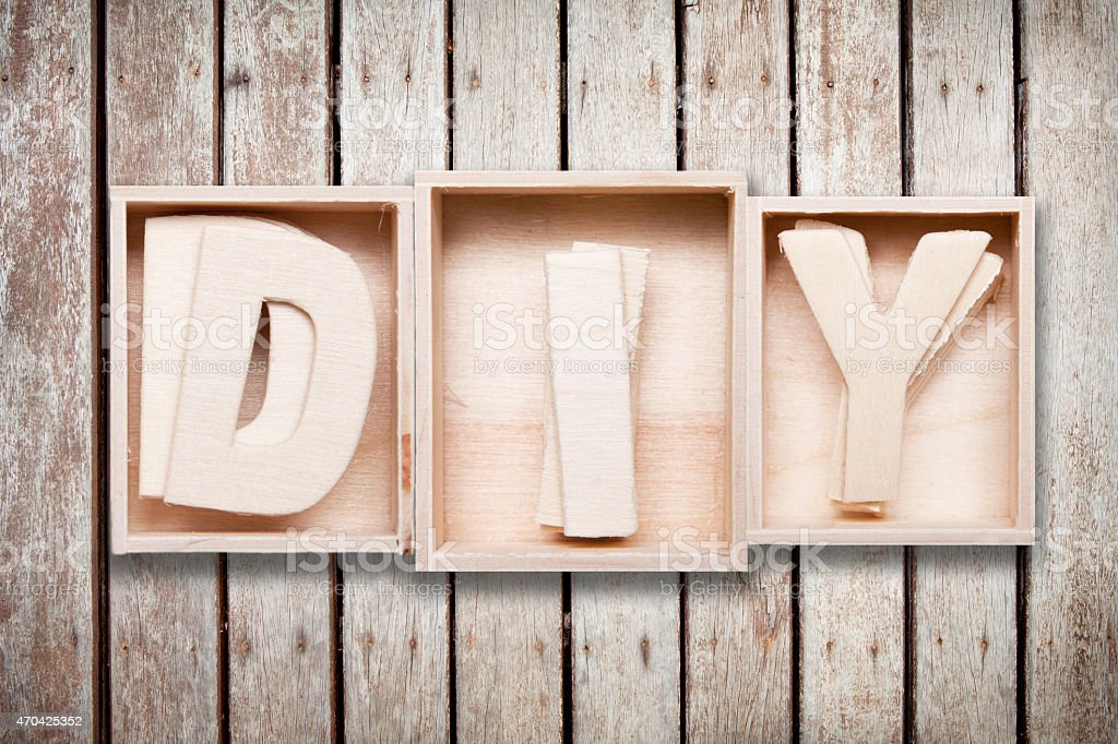 DIY wood font style in box stock photo