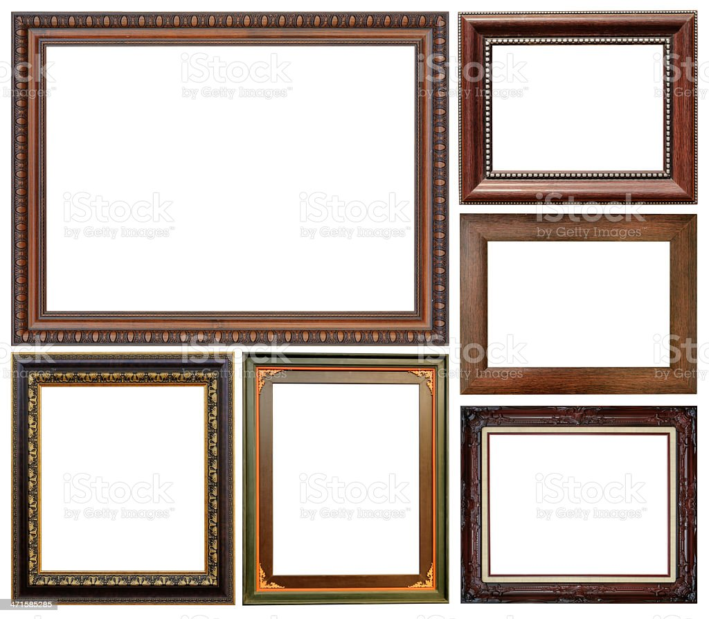 Wood frame collection stock photo