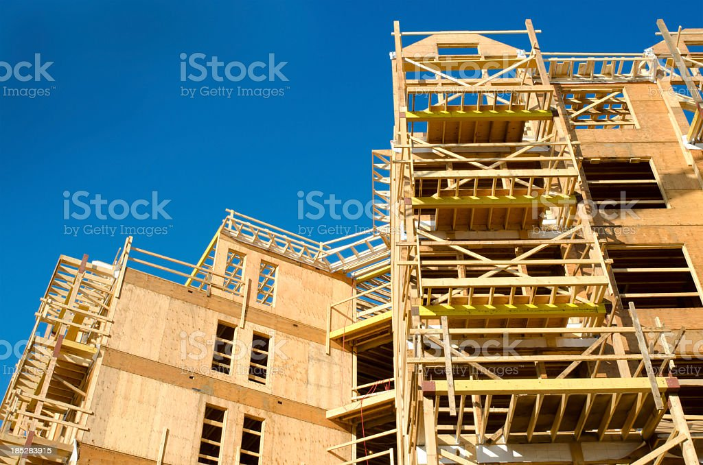 Wood Frame Construction Site stock photo