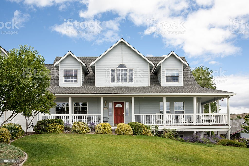 Wood Frame Home with Pitched Roof royalty-free stock photo