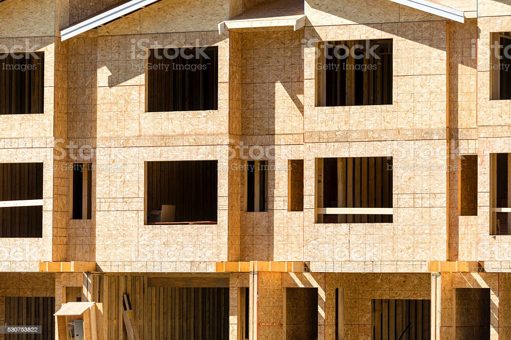 Wood Frame House Construction Industry stock photo
