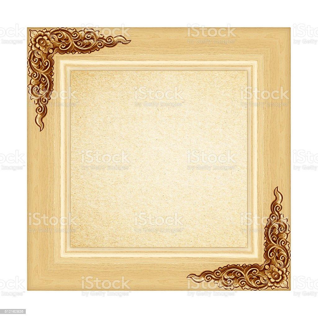 wood frame Isolated on white background stock photo