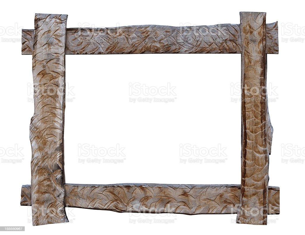 Wood frame on white background. royalty-free stock photo