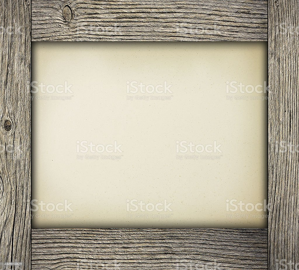 Wood frame with paper stock photo