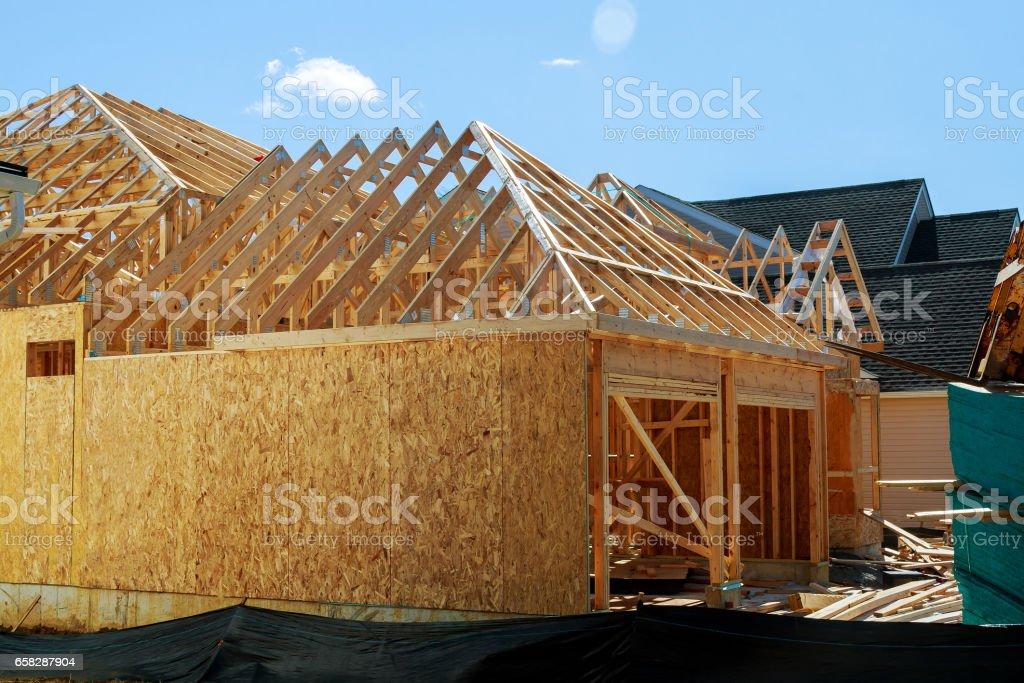 Wood framing new house under construction stock photo