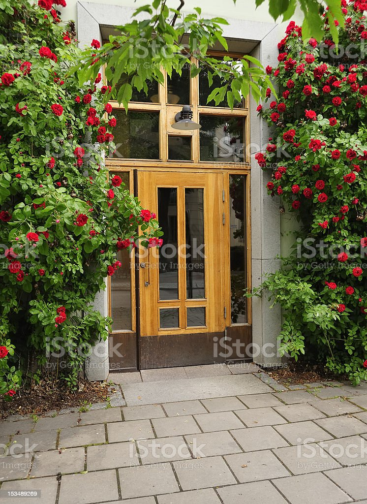 Wood Front Door on a stone Town House royalty-free stock photo