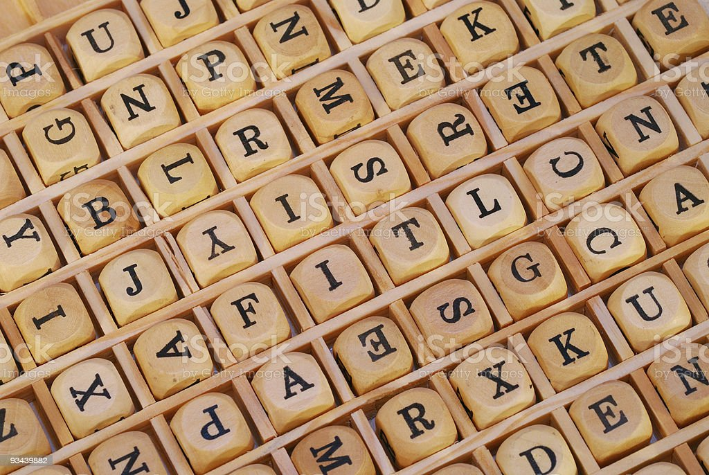 Wood game Letters - background royalty-free stock photo