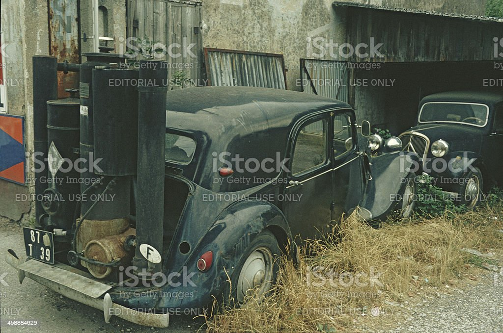 Wood gasifier car from 1942. stock photo