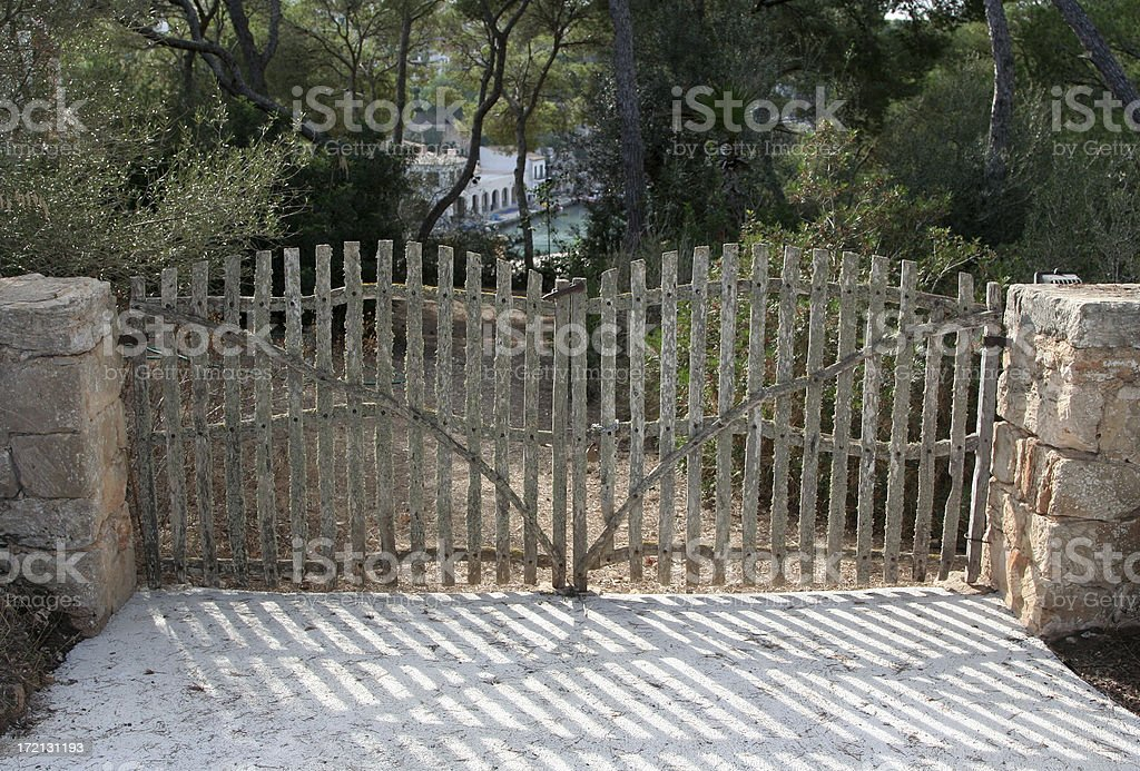 Wood gate stock photo