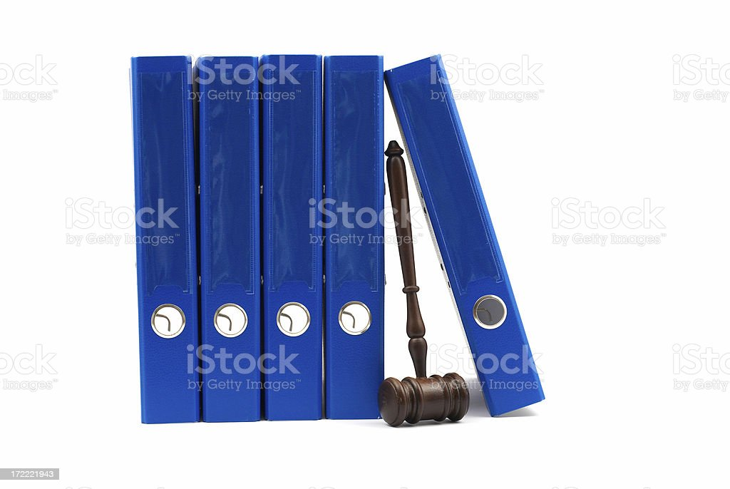 Wood Gavel and Blue Ring Binder royalty-free stock photo
