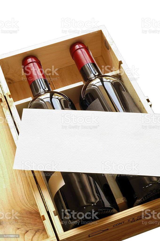 Wood gift box with two wine bottles  w7 clipping path royalty-free stock photo