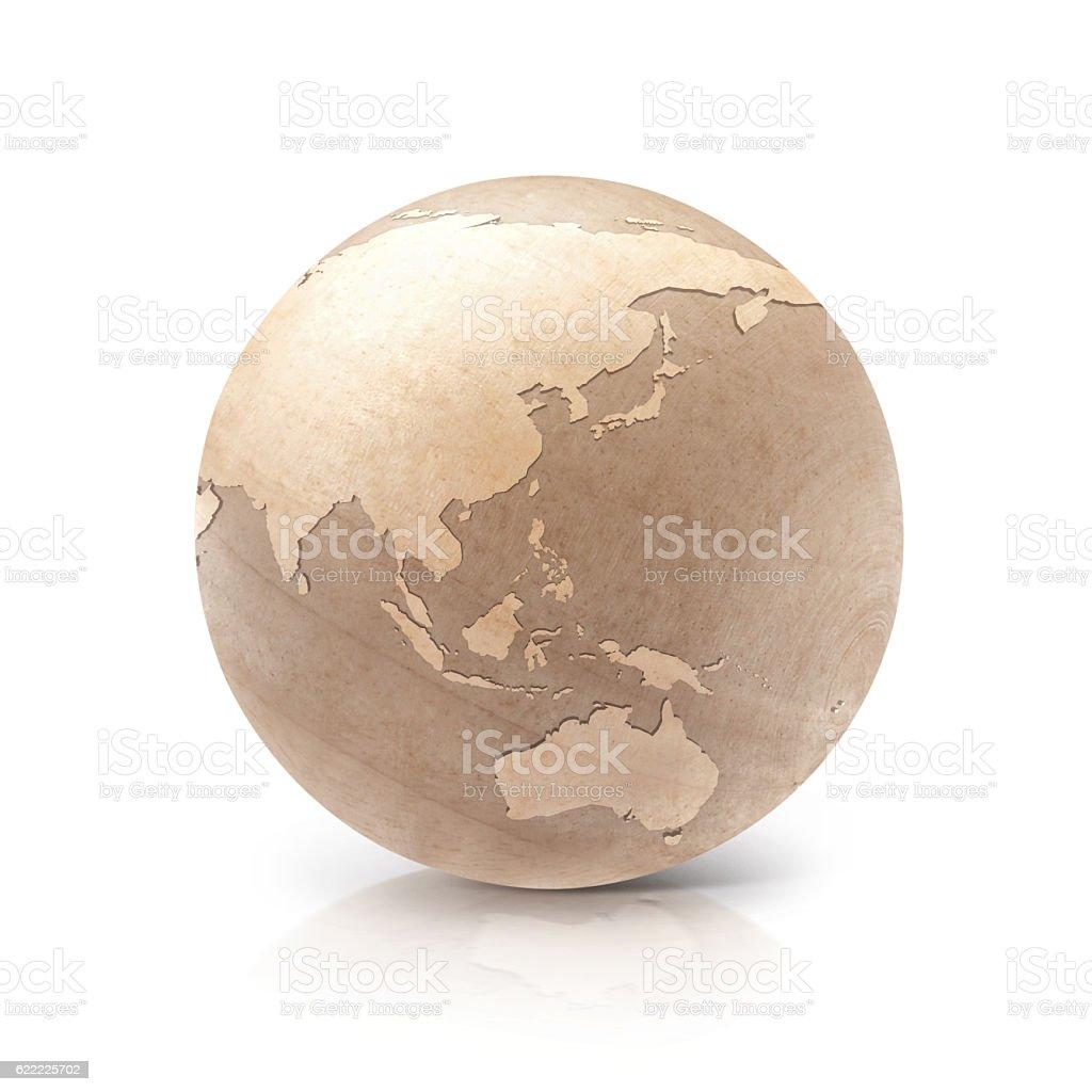 Wood globe 3D illustration Asia & Australia map stock photo