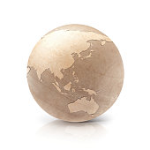 Wood globe 3D illustration Asia & Australia map