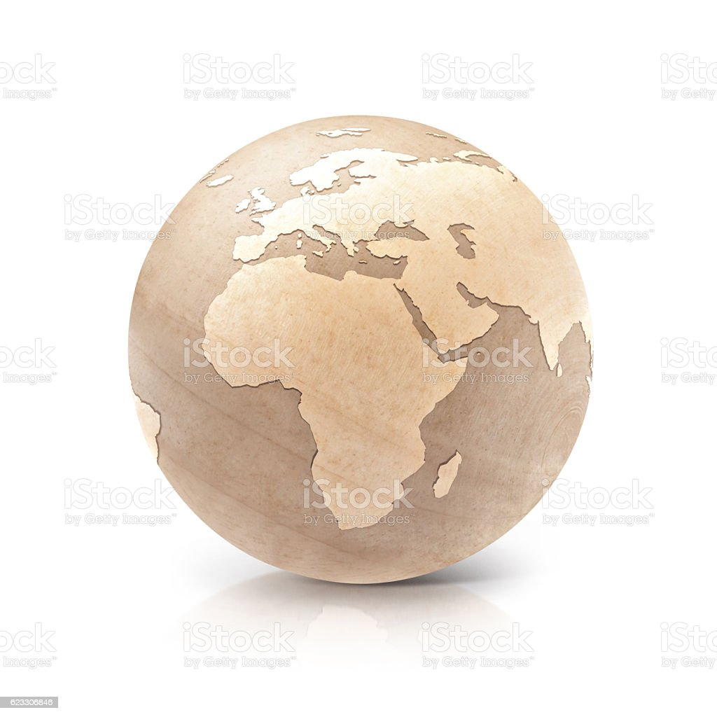 Wood globe 3D illustration europe and africa map stock photo