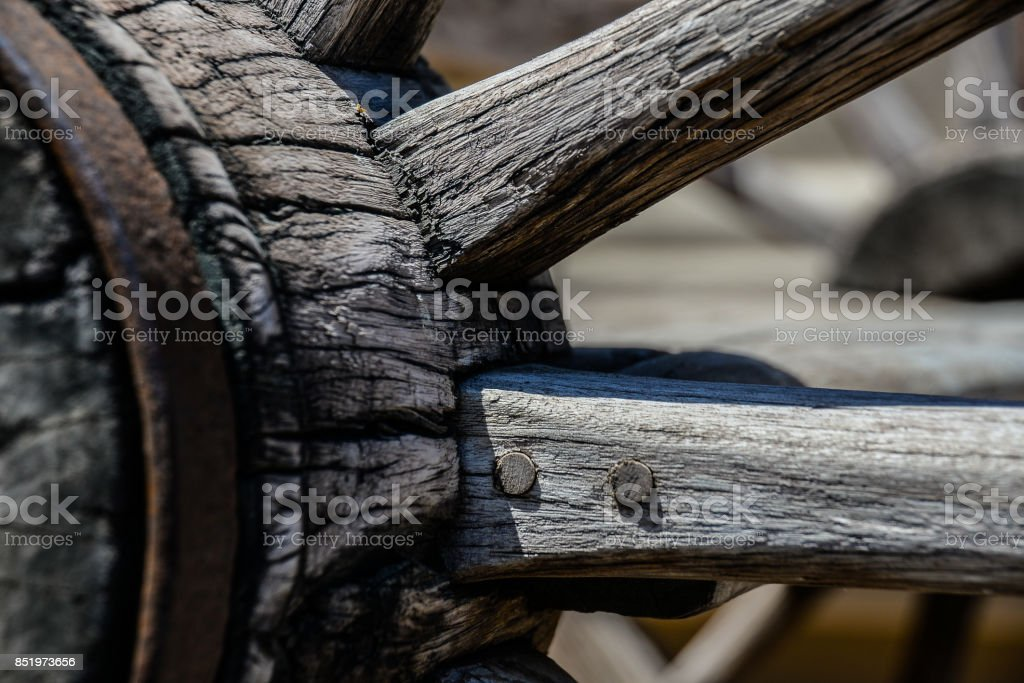 Wood grain on wagon wheel stock photo