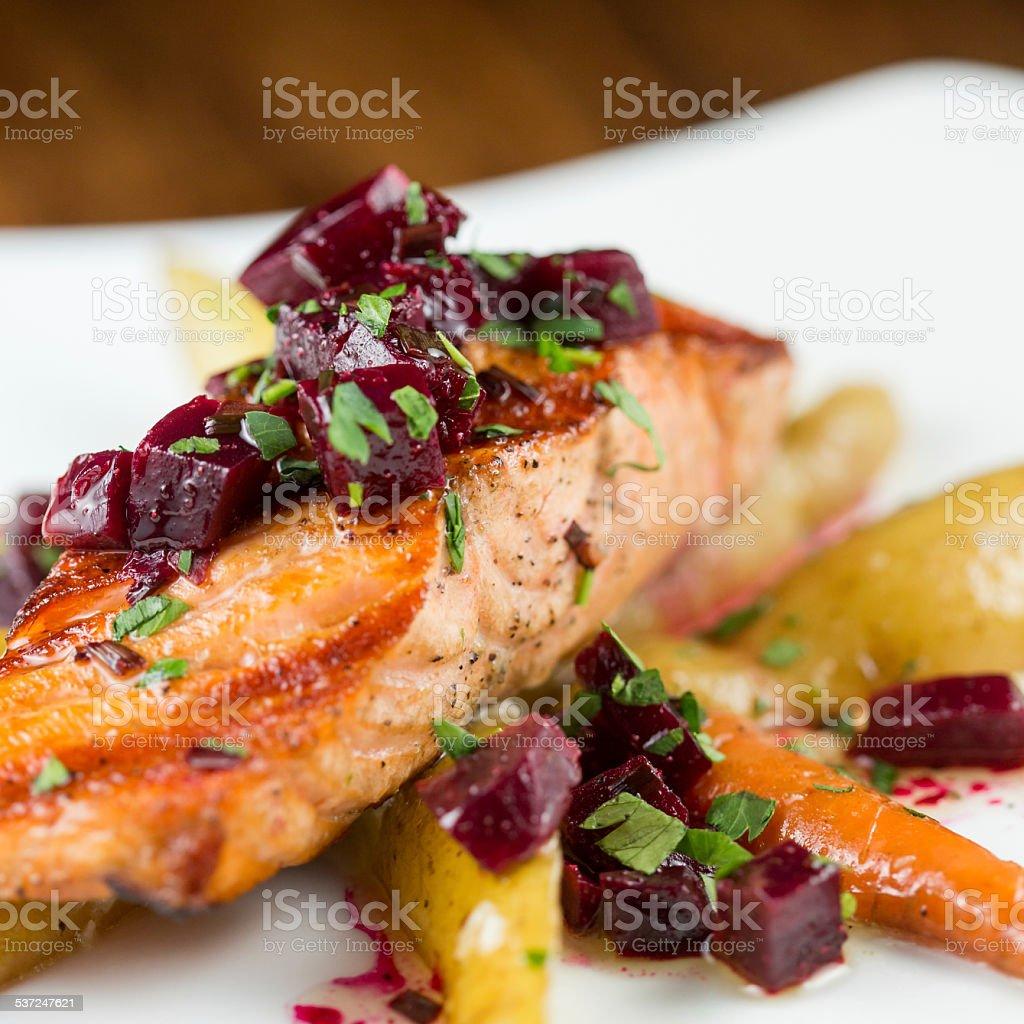 Wood Grilled Organic Salmon stock photo